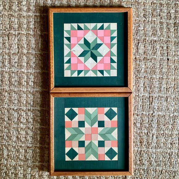 Vintage Handmade Framed Painted Quilt Patterns